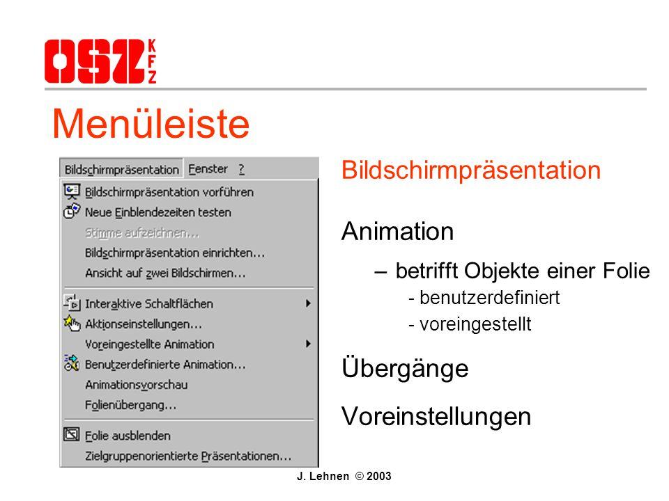 Menüleiste Bildschirmpräsentation Animation Übergänge Voreinstellungen