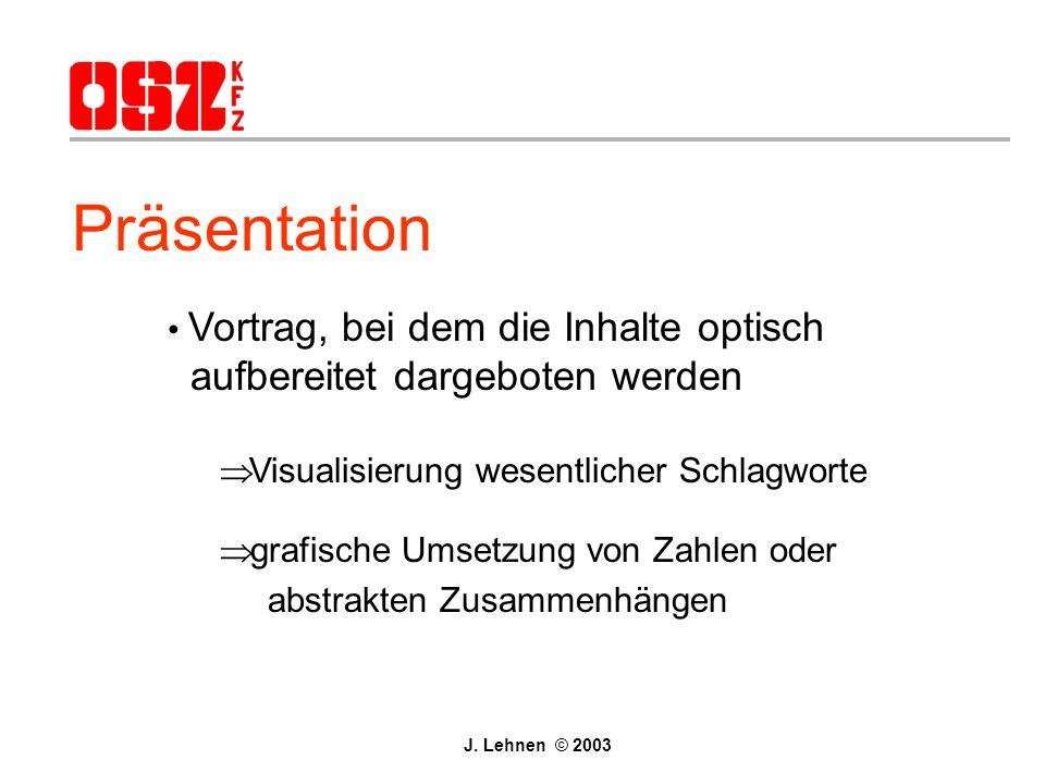 Präsentation Vortrag, bei dem die Inhalte optisch aufbereitet dargeboten werden. Visualisierung wesentlicher Schlagworte.