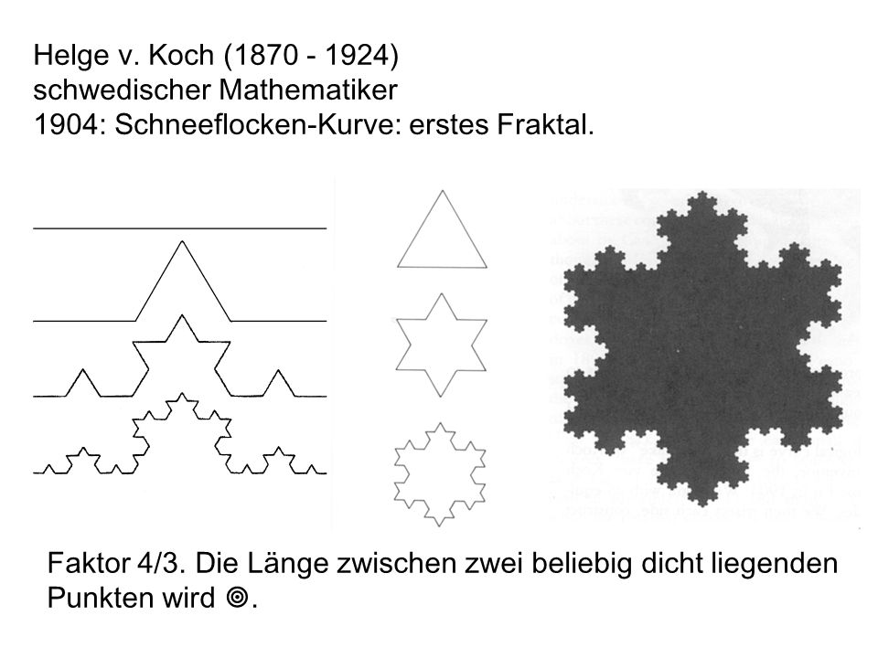 Helge v. Koch (1870 - 1924) schwedischer Mathematiker. 1904: Schneeflocken-Kurve: erstes Fraktal.
