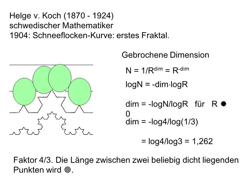 Helge v. Koch (1870 - 1924) schwedischer Mathematiker. 1904: Schneeflocken-Kurve: erstes Fraktal. Gebrochene Dimension.