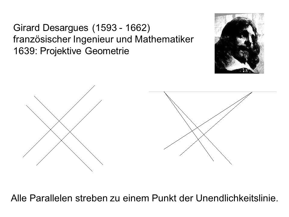 Girard Desargues (1593 - 1662) französischer Ingenieur und Mathematiker. 1639: Projektive Geometrie.