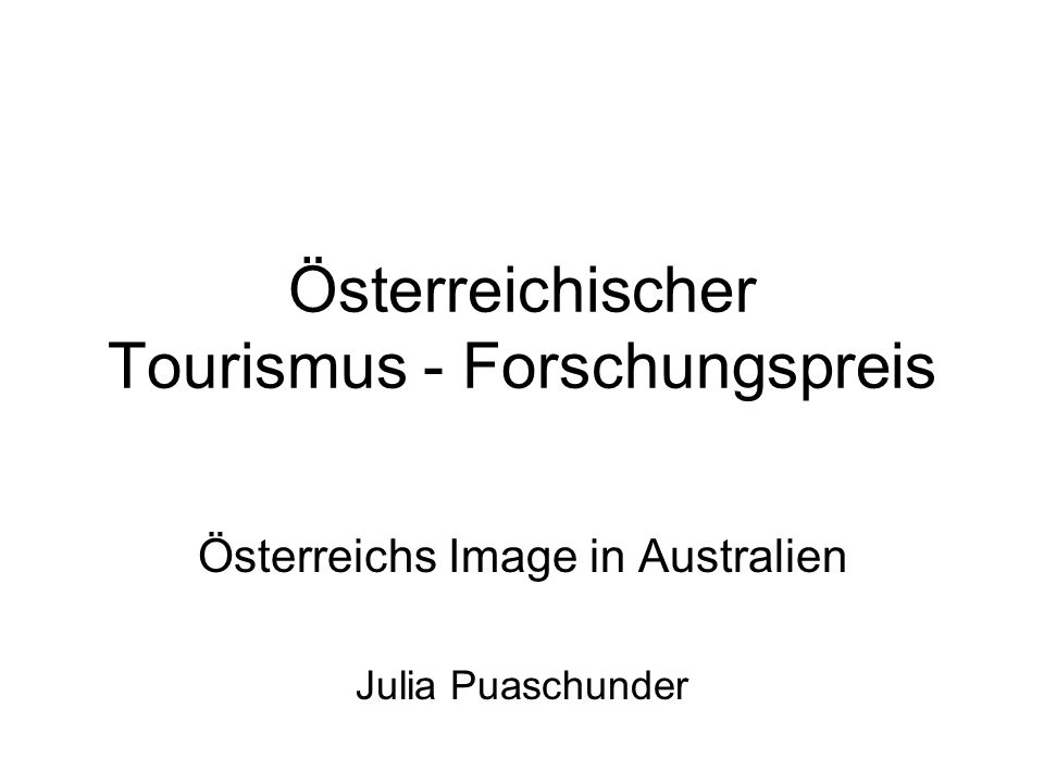 Österreichischer Tourismus - Forschungspreis