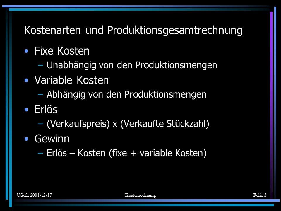 Kostenarten und Produktionsgesamtrechnung