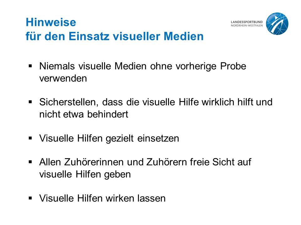 Hinweise für den Einsatz visueller Medien