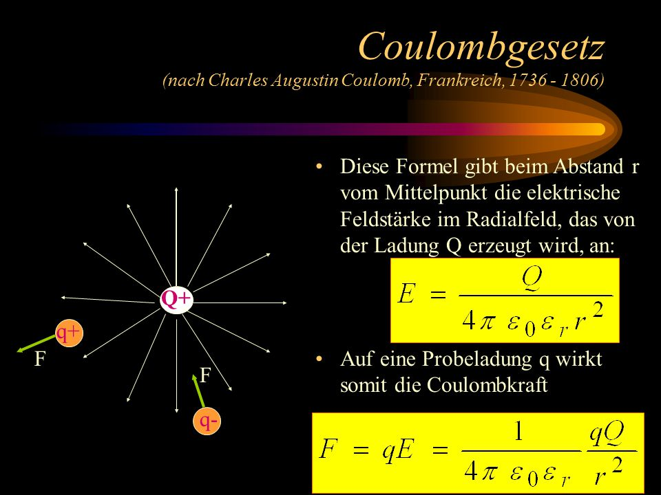 Coulombgesetz (nach Charles Augustin Coulomb, Frankreich, 1736 - 1806)