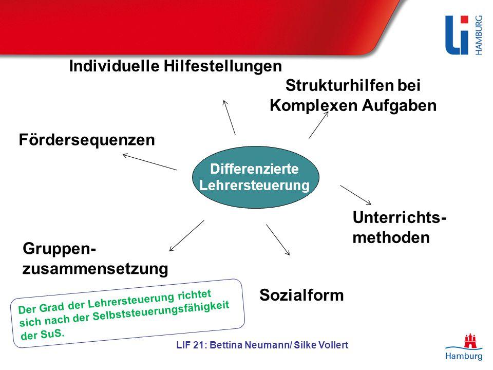 Differenzierte Lehrersteuerung LIF 21: Bettina Neumann/ Silke Vollert