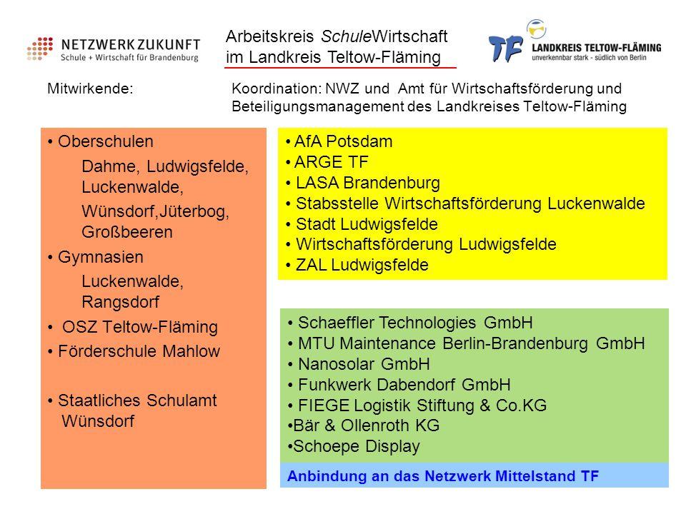 Arbeitskreis SchuleWirtschaft im Landkreis Teltow-Fläming