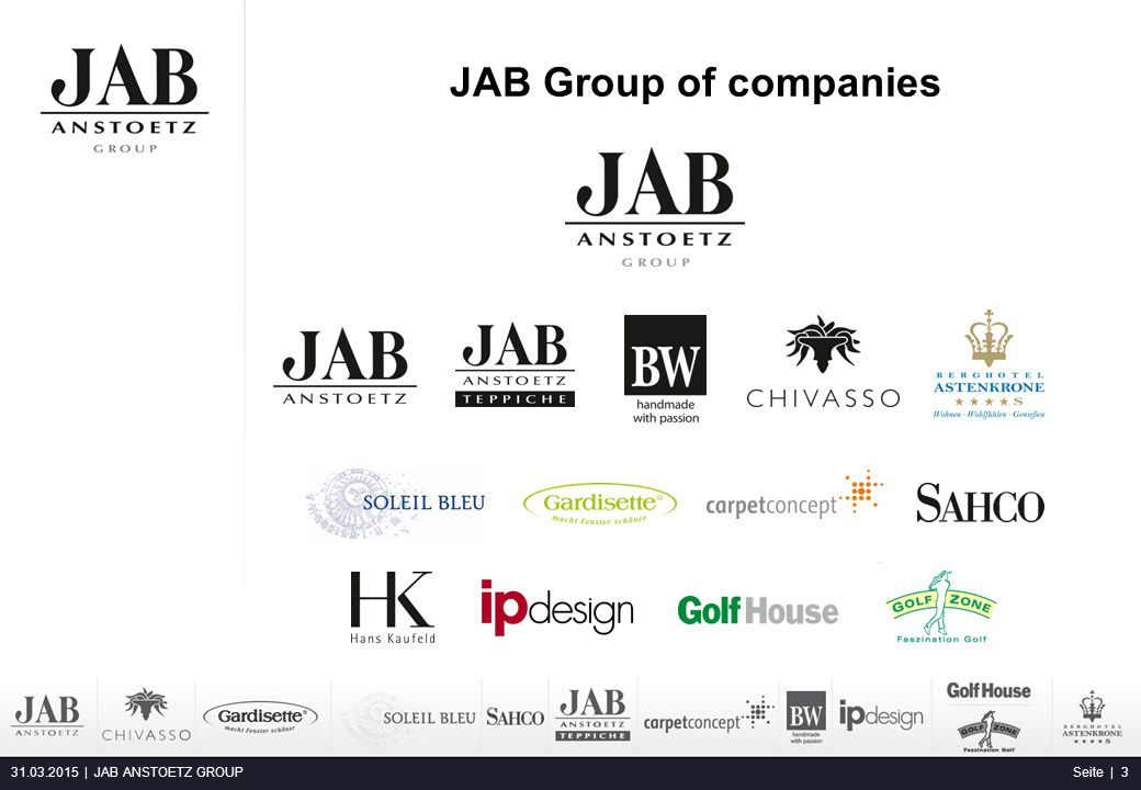 JAB Group of companies 09.04.2017 | JAB ANSTOETZ GROUP