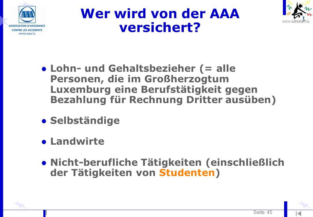 Wer wird von der AAA versichert
