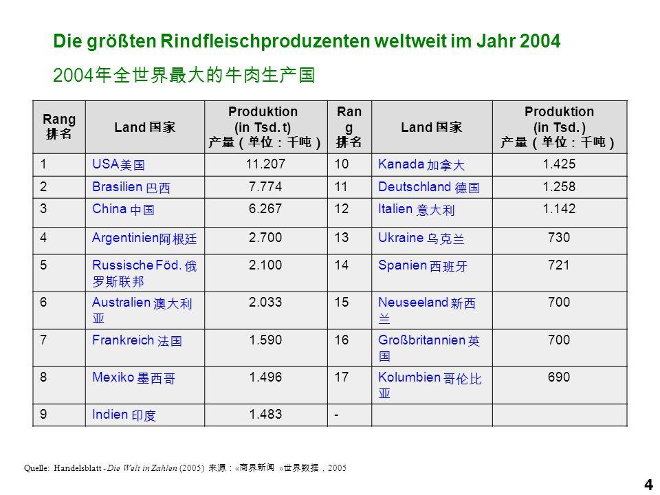 Die größten Rindfleischproduzenten weltweit im Jahr 2004