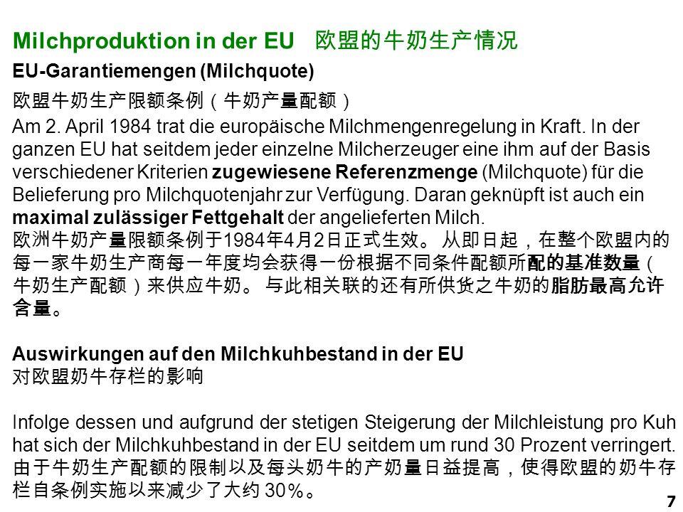 Milchproduktion in der EU 欧盟的牛奶生产情况
