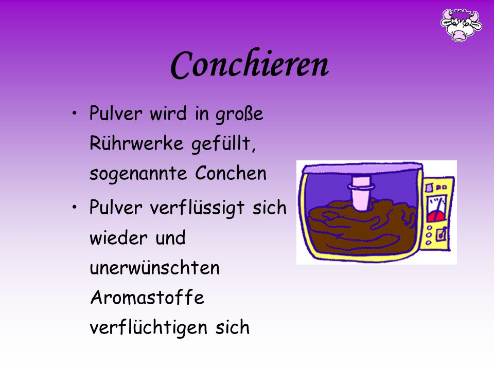 Conchieren Pulver wird in große Rührwerke gefüllt, sogenannte Conchen