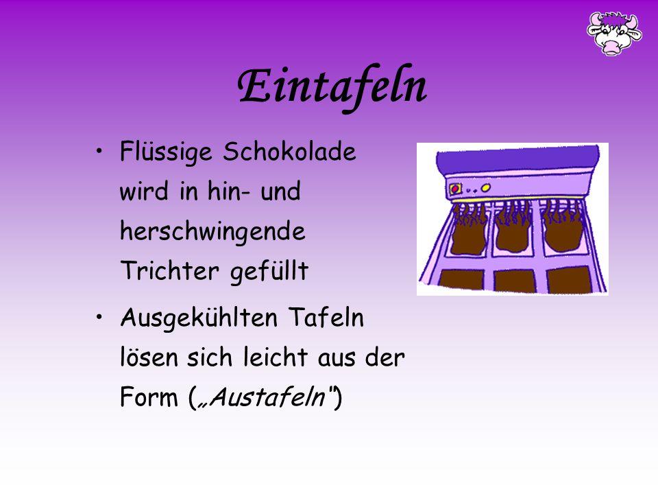 """Eintafeln Flüssige Schokolade wird in hin- und herschwingende Trichter gefüllt. Ausgekühlten Tafeln lösen sich leicht aus der Form (""""Austafeln )"""