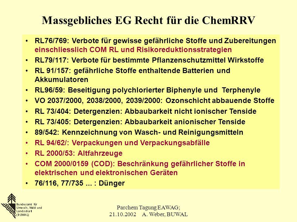 Massgebliches EG Recht für die ChemRRV