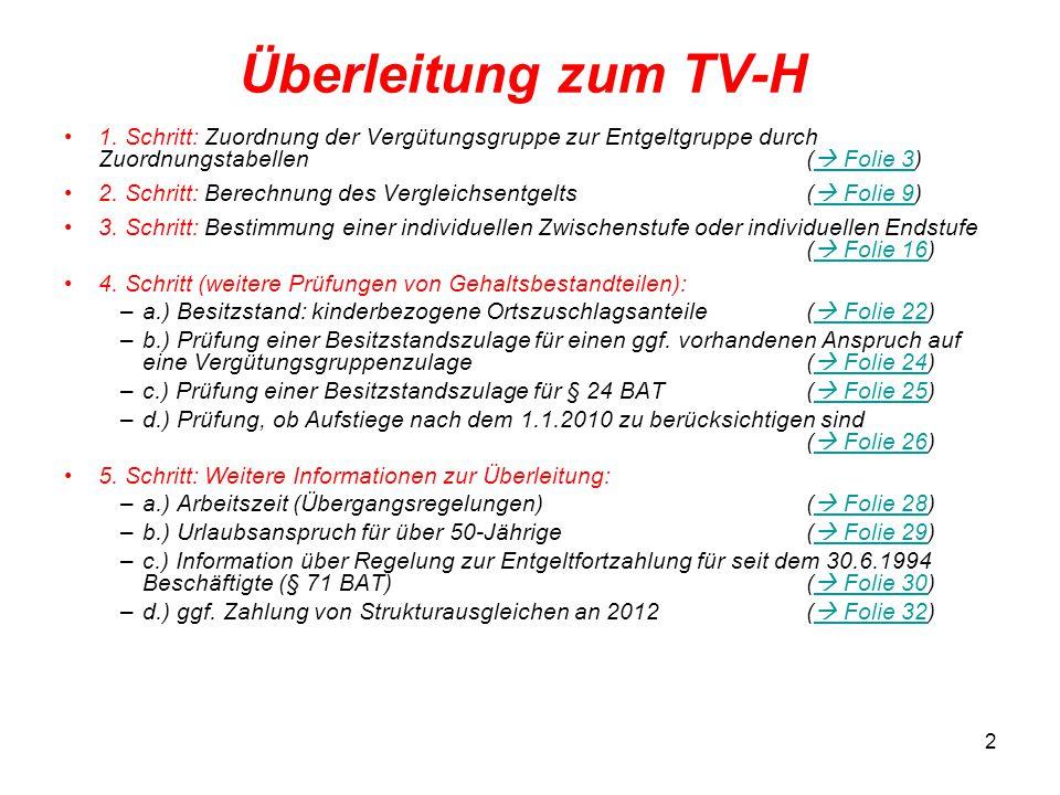 Überleitung zum TV-H 1. Schritt: Zuordnung der Vergütungsgruppe zur Entgeltgruppe durch Zuordnungstabellen ( Folie 3)