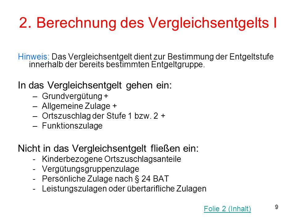 2. Berechnung des Vergleichsentgelts I
