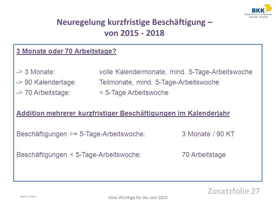 Neuregelung kurzfristige Beschäftigung – von 2015 - 2018