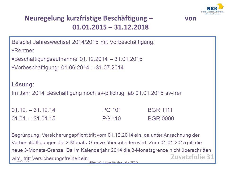 Neuregelung kurzfristige Beschäftigung – von 01.01.2015 – 31.12.2018