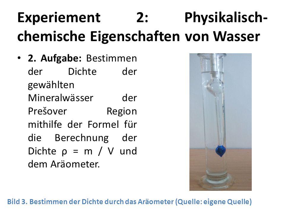 Experiement 2: Physikalisch-chemische Eigenschaften von Wasser