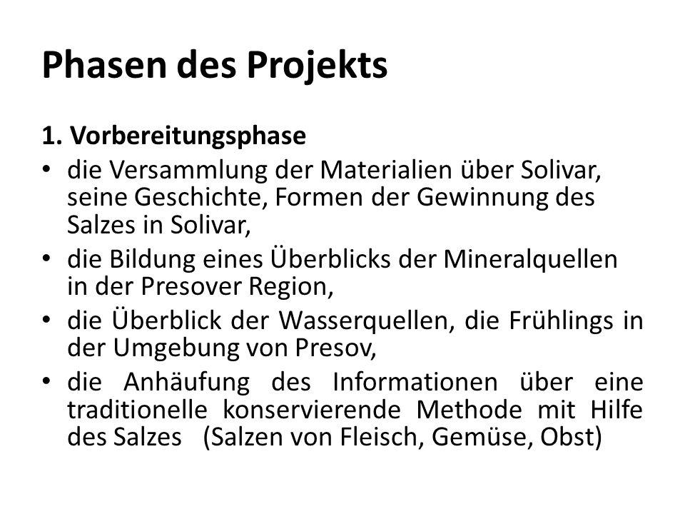 Phasen des Projekts 1. Vorbereitungsphase