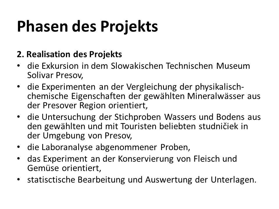 Phasen des Projekts 2. Realisation des Projekts