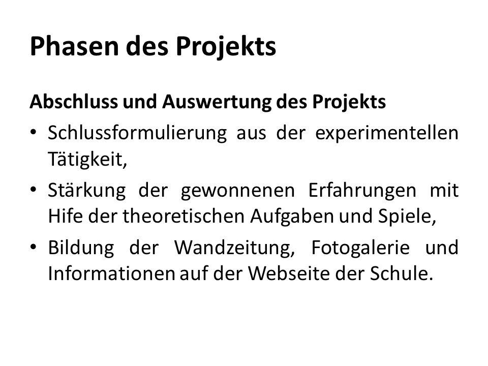 Phasen des Projekts Abschluss und Auswertung des Projekts