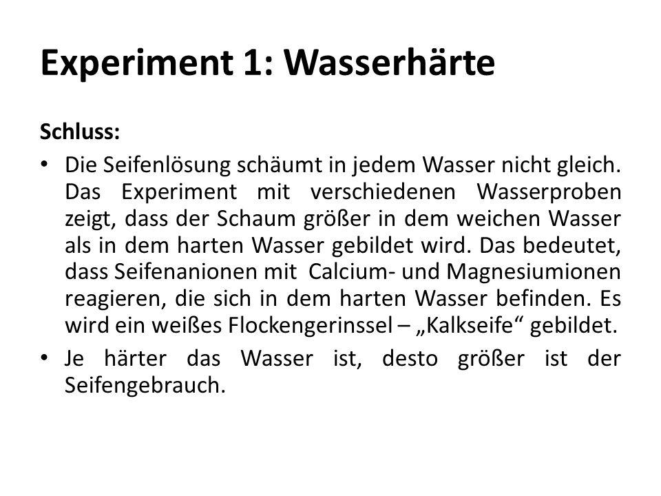 Experiment 1: Wasserhärte