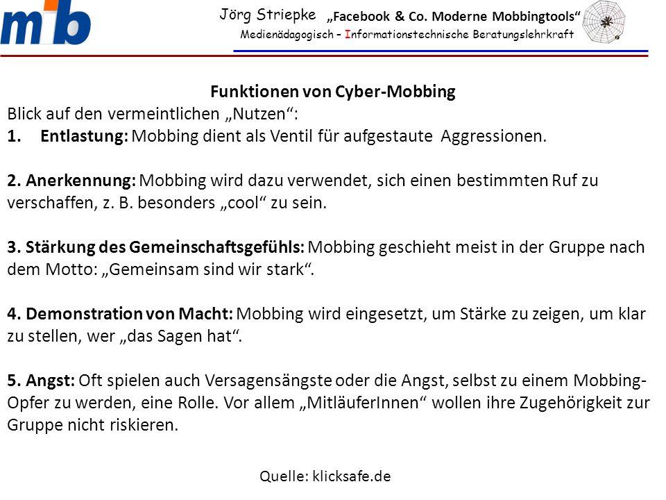Funktionen von Cyber-Mobbing