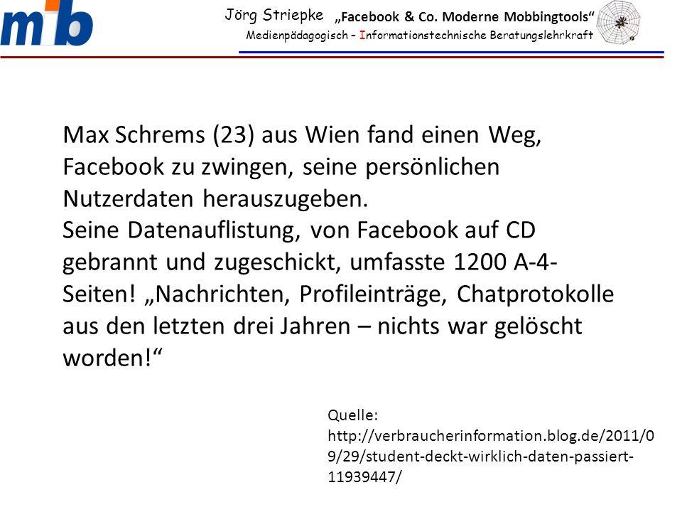 "Jörg Striepke ""Facebook & Co. Moderne Mobbingtools Medienpädagogisch – Informationstechnische Beratungslehrkraft."