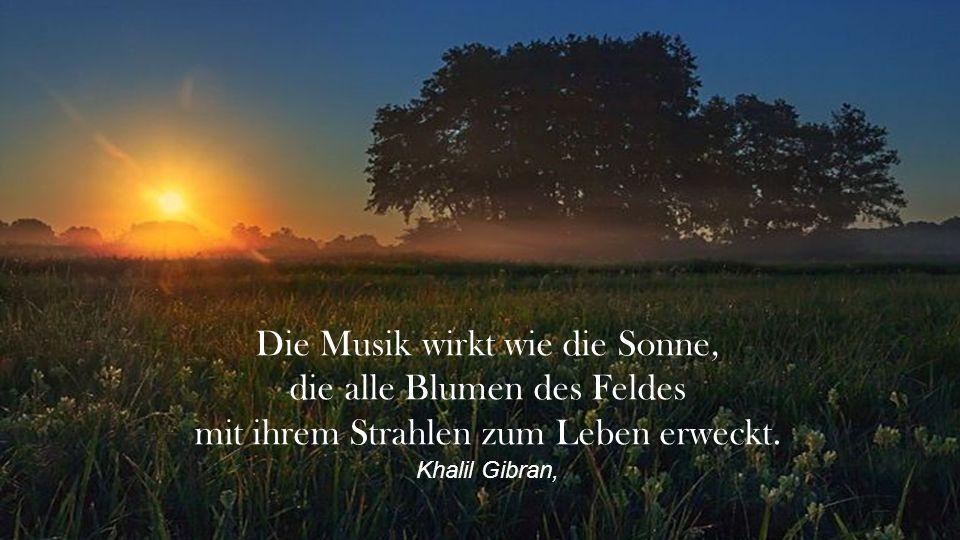 Die Musik wirkt wie die Sonne, die alle Blumen des Feldes