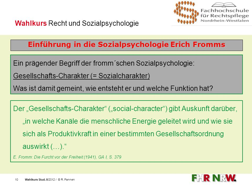 Einführung in die Sozialpsychologie Erich Fromms