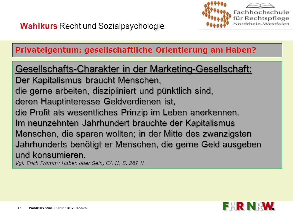 Gesellschafts-Charakter in der Marketing-Gesellschaft:
