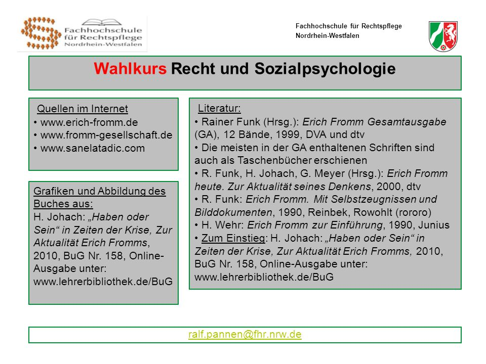 Wahlkurs Stud. II/2011 ralf.pannen@fhr.nrw.de