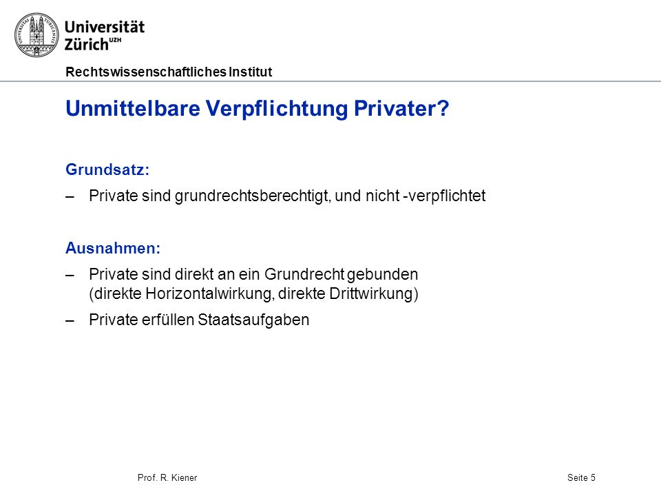 Unmittelbare Verpflichtung Privater
