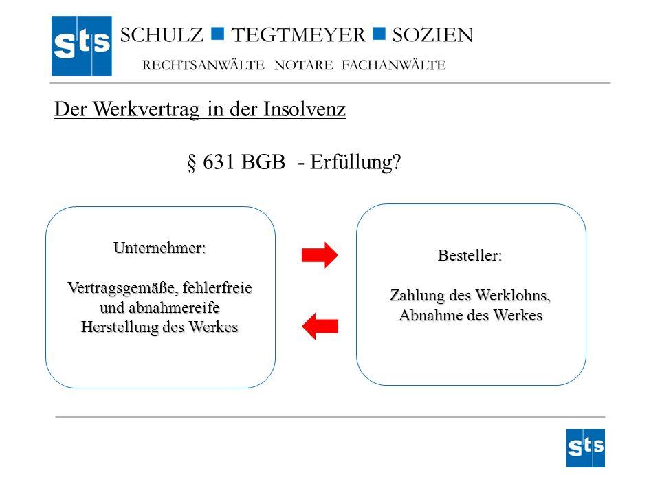 Der Werkvertrag in der Insolvenz § 631 BGB - Erfüllung
