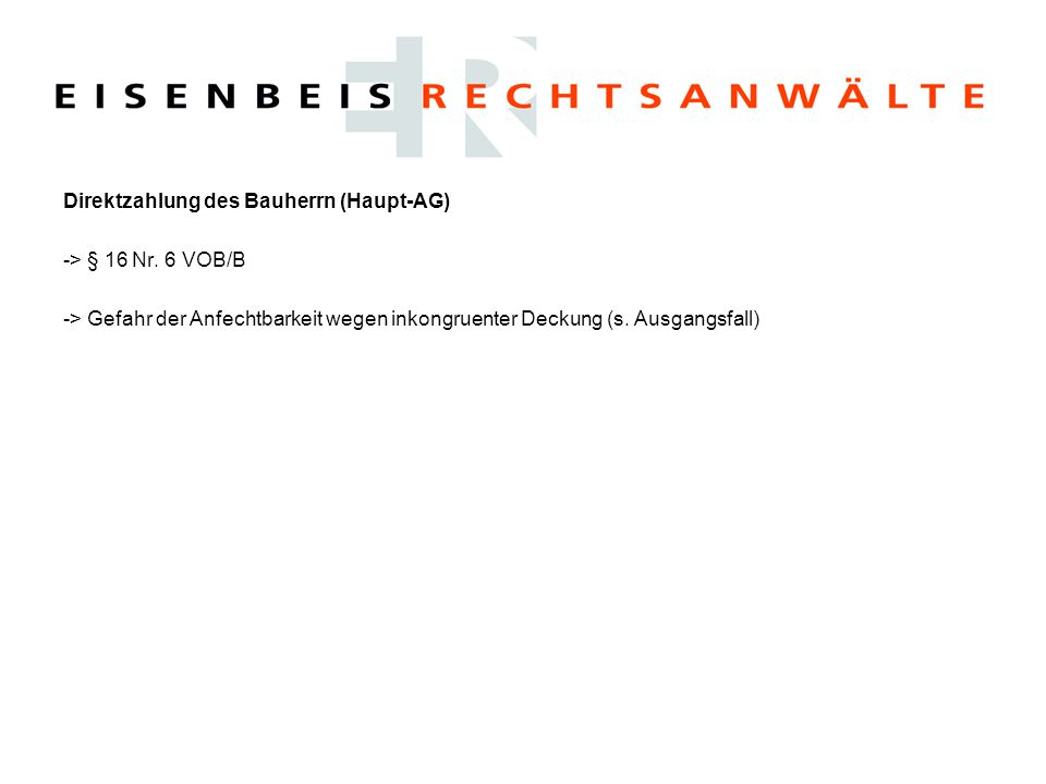 Direktzahlung des Bauherrn (Haupt-AG)