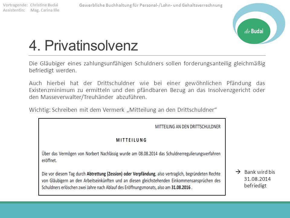 4. Privatinsolvenz Die Gläubiger eines zahlungsunfähigen Schuldners sollen forderungsanteilig gleichmäßig befriedigt werden.