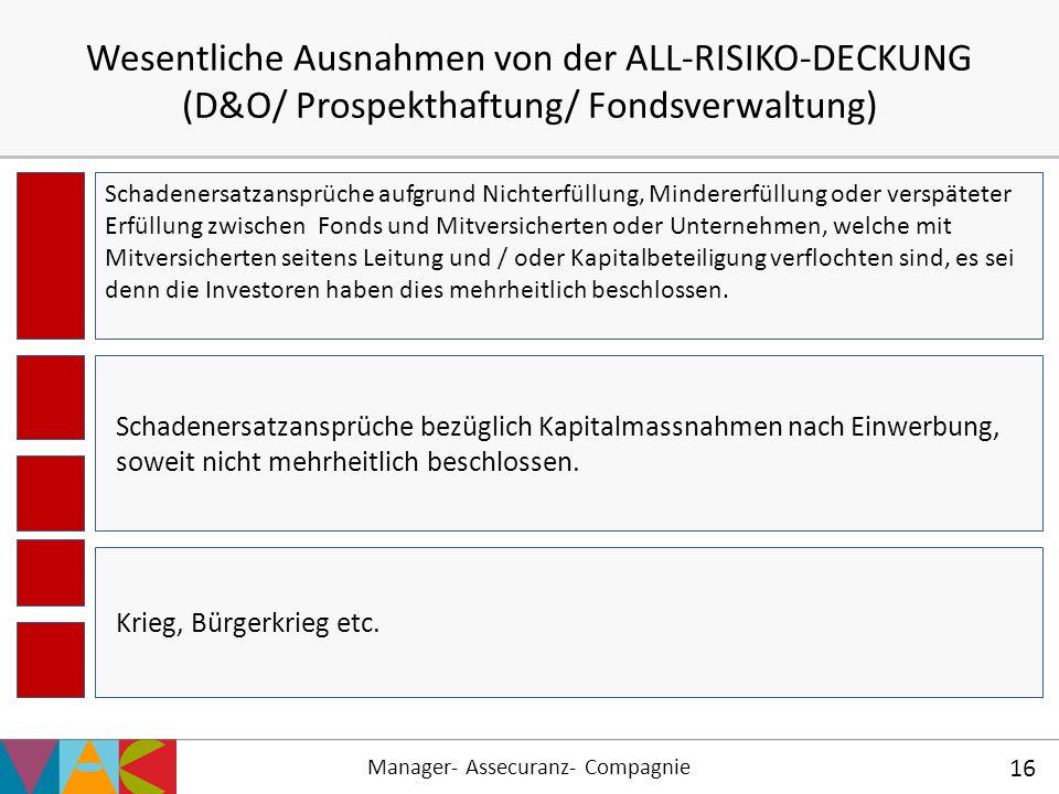 Wesentliche Ausnahmen von der ALL-RISIKO-DECKUNG (D&O/ Prospekthaftung/ Fondsverwaltung)