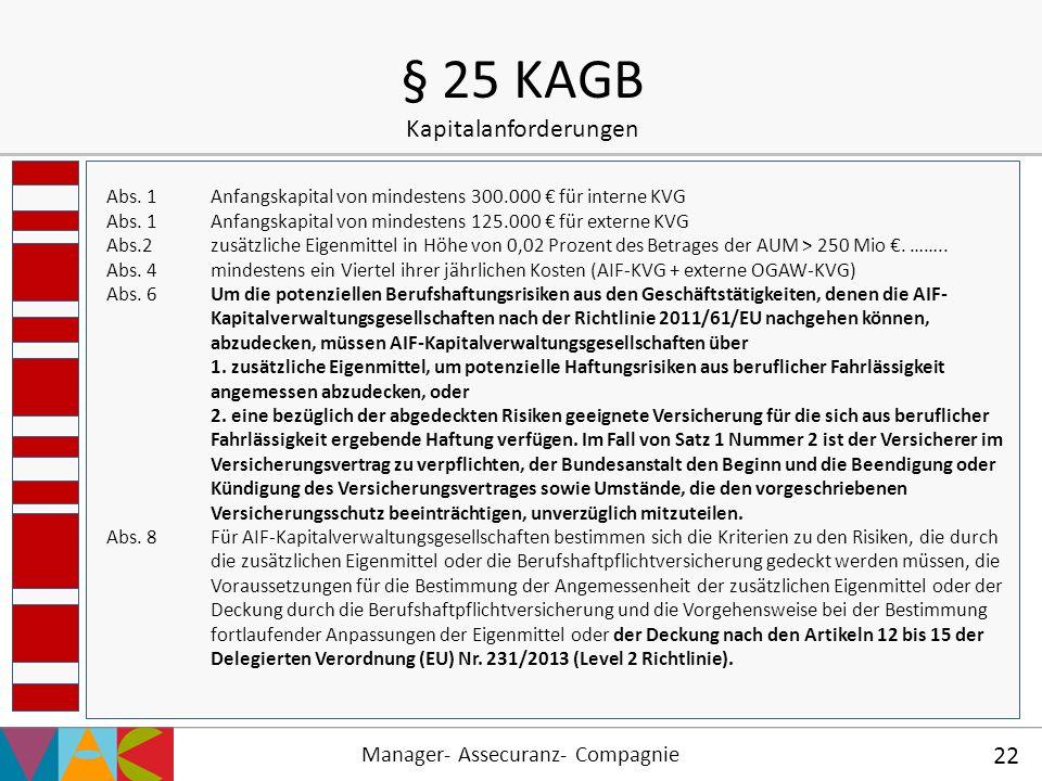 § 25 KAGB Kapitalanforderungen