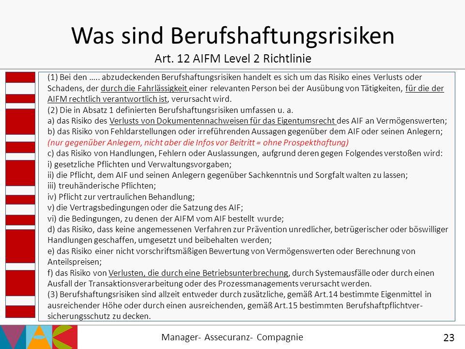 Was sind Berufshaftungsrisiken Art. 12 AIFM Level 2 Richtlinie