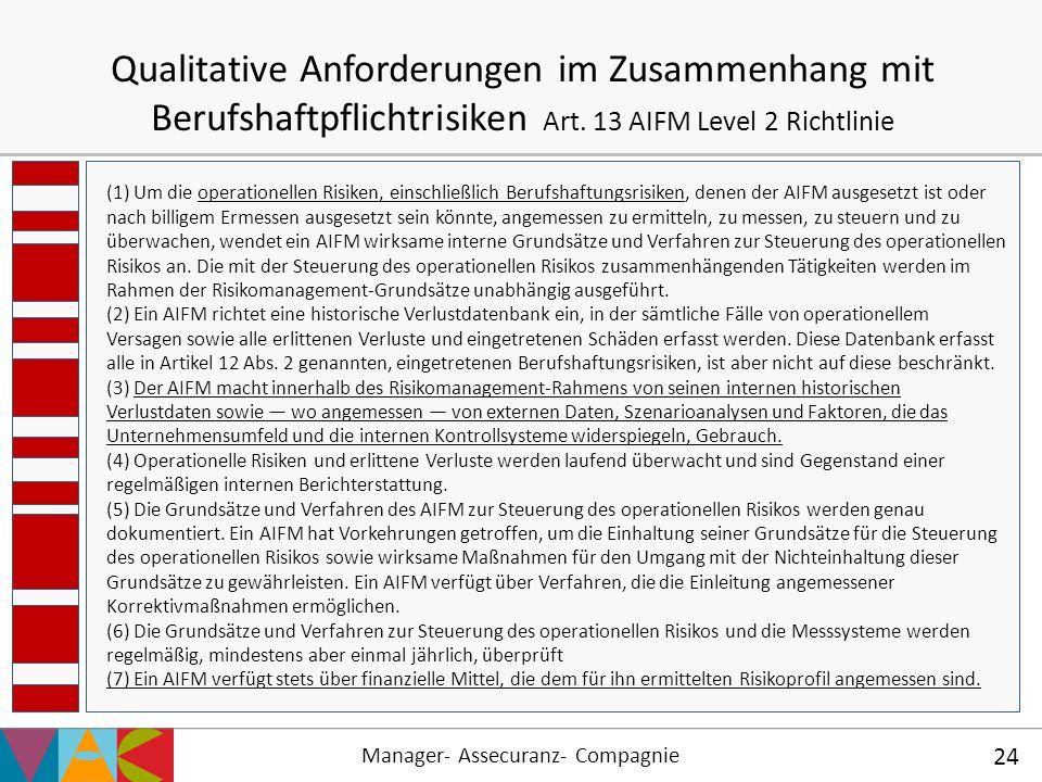 Qualitative Anforderungen im Zusammenhang mit Berufshaftpflichtrisiken Art. 13 AIFM Level 2 Richtlinie