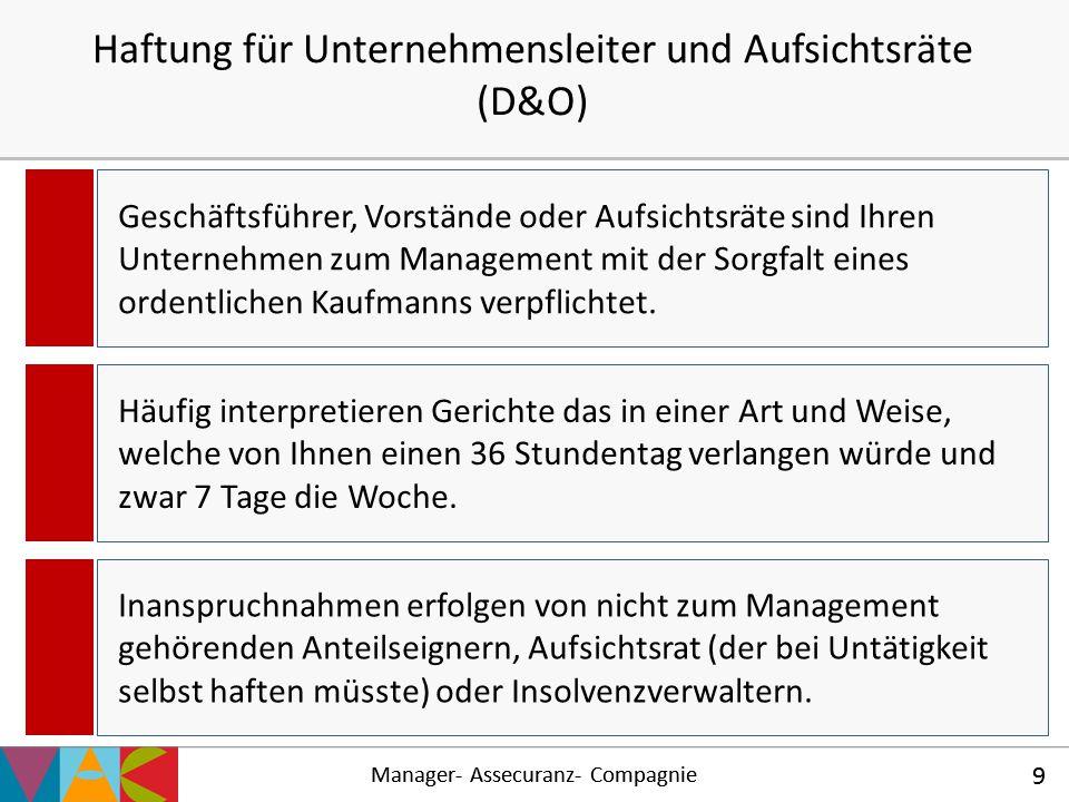 Haftung für Unternehmensleiter und Aufsichtsräte (D&O)