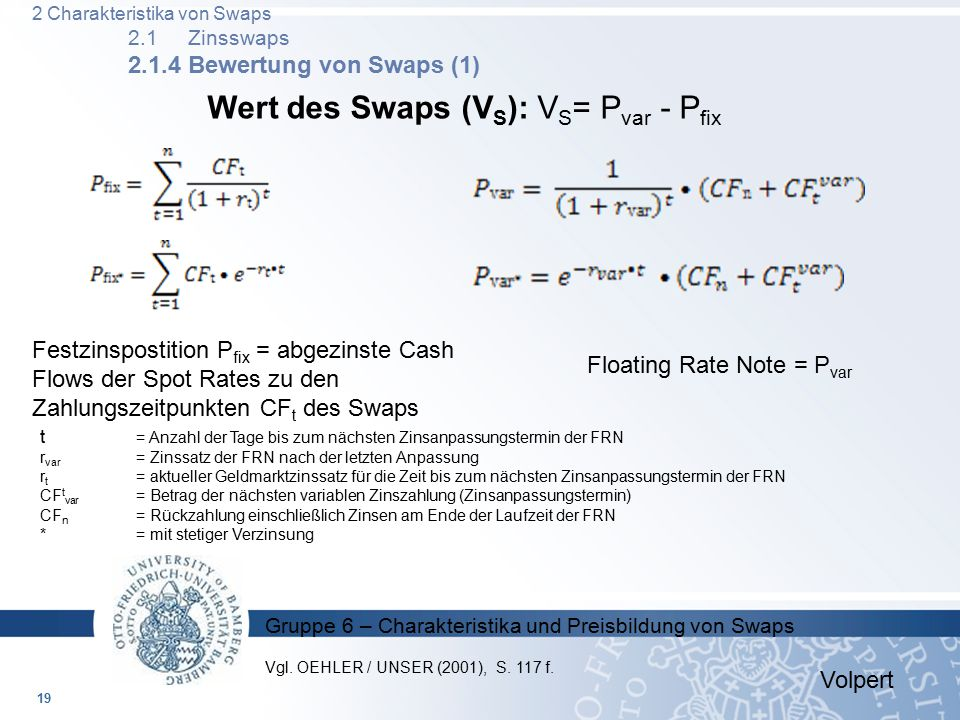 Wert des Swaps (VS): VS= Pvar - Pfix