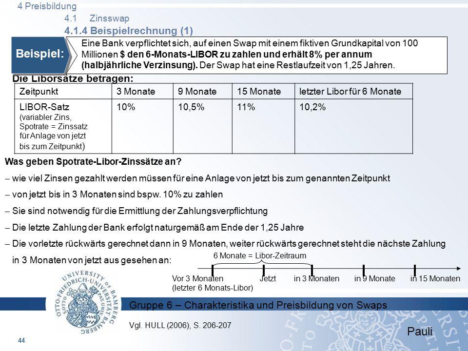 4 Preisbildung 4.1 Zinsswap 4.1.4 Beispielrechnung (1)