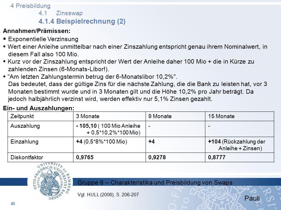 4 Preisbildung 4.1 Zinsswap 4.1.4 Beispielrechnung (2)