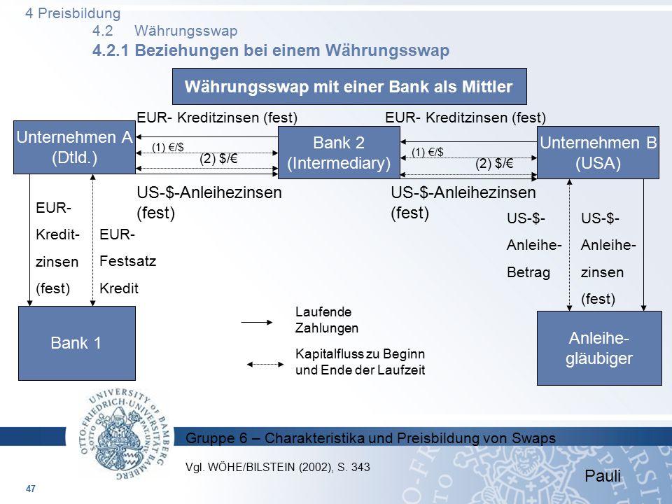 Währungsswap mit einer Bank als Mittler