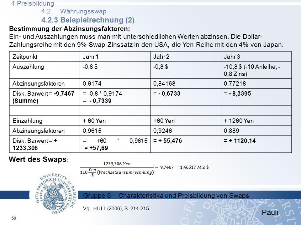 4 Preisbildung 4.2 Währungsswap 4.2.3 Beispielrechnung (2)