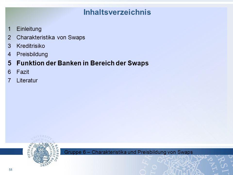 Inhaltsverzeichnis 5 Funktion der Banken in Bereich der Swaps