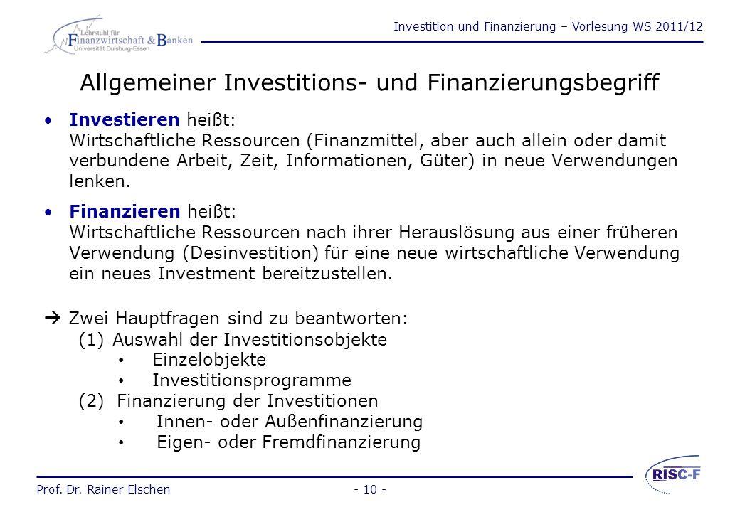 Allgemeiner Investitions- und Finanzierungsbegriff