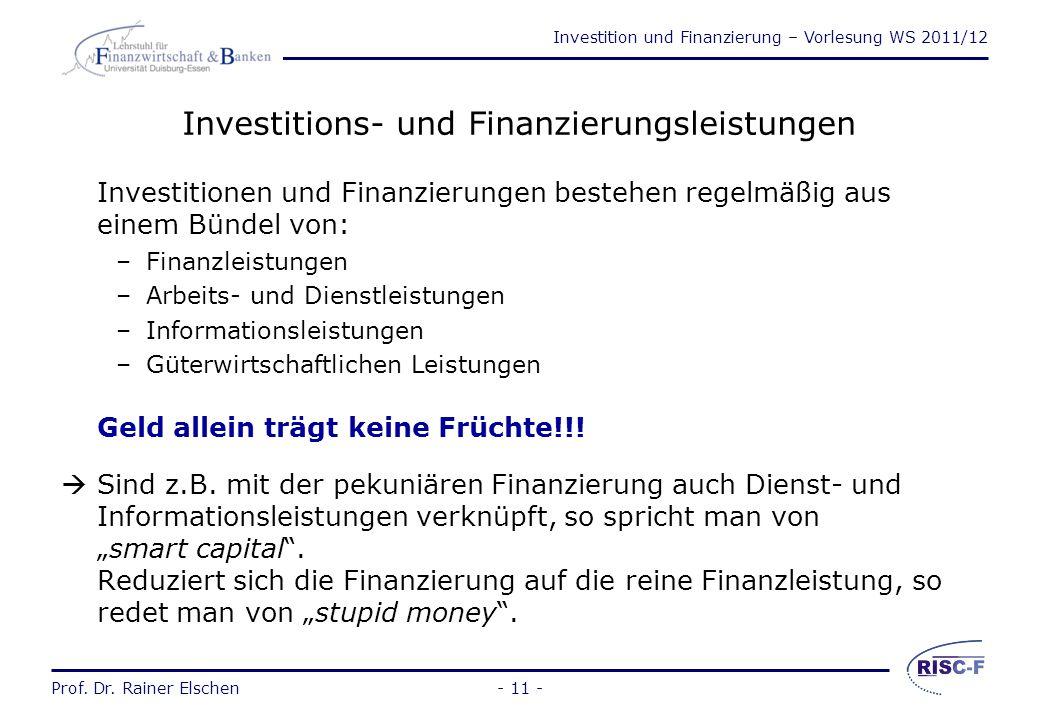 Investitions- und Finanzierungsleistungen
